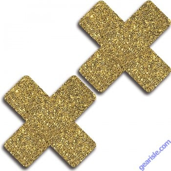 Glitter 31510 Gold Glitter Cross Pasties Lingerie