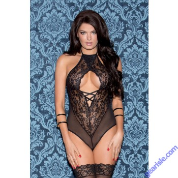 Glitter 35019 Lace And Mesh Halter Teddy With Front And Back Lace Up Lingerie
