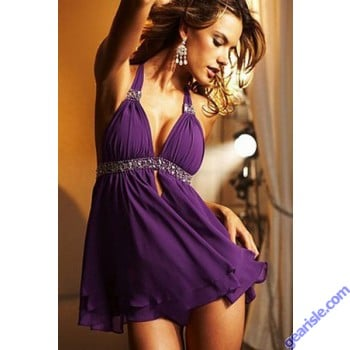 Womens Sheer Purple Babydoll Sexy 2 Piece Night & Panty New Nightie 5157