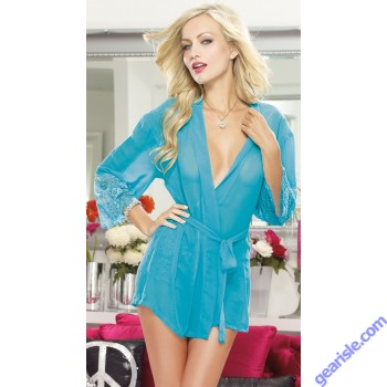 Pure Color See-Through Women's Sleepwear Soft Kimono and Cheeky Panty 5245