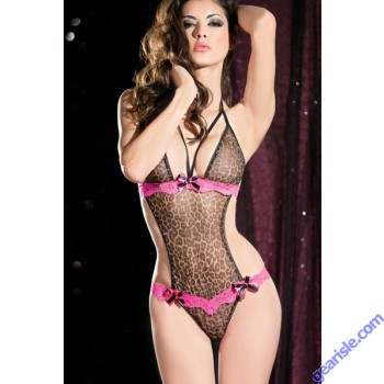 Women's Sexy Purrfect Temptress Leopard Teddy 5880 Lingerie Set with G-string