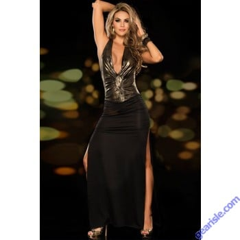Deep Plunging Metallic Gown 5951 Sexy Long Party Dress Black/ Gold