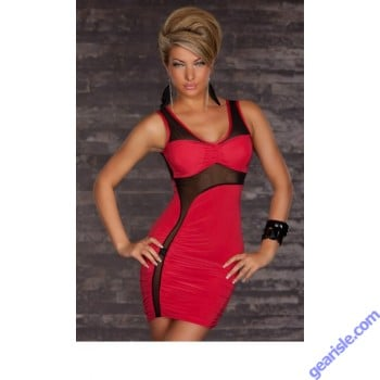 Women Club Sexy Red Cut-out Mesh Form Fitting Stretch Mini Bodycon 6444 Dress