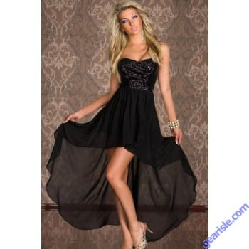 Strapless Short Front Long Back Cocktail Dresses Gold Sequined Lace Top Robe 6604