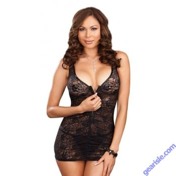 Dreamgirl 7247X Stretch Lace Chemise With Front Zipper And Matching Thong Lingerie