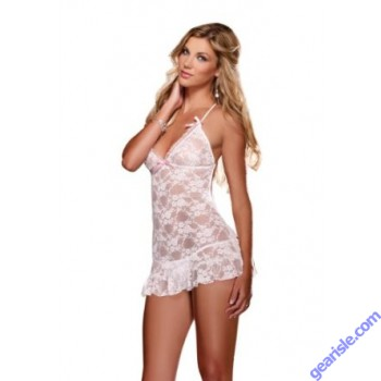 Dreamgirl 8692-Women's Bridal Fantasy Stretch Lace Chemise Set