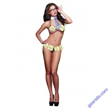 Dreamgirl 9321 Women's Office Flirt Four Piece Bra Set with Detachable Sticky Notes