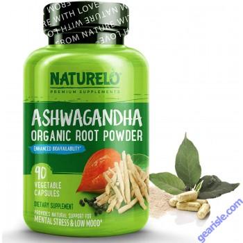 Ashwagandha Organic Root Powder Natural Supplement w Black Pepper