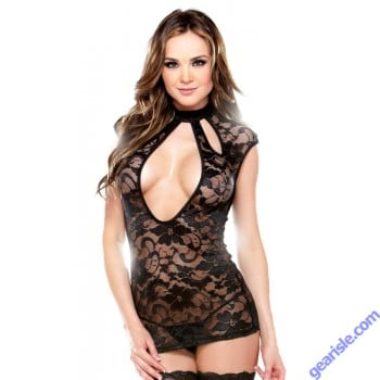 Lace Dress Cutout Neckline Panty Tease B418