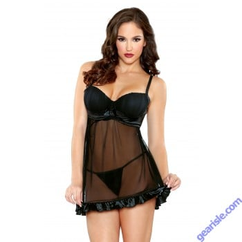 Shirred Cup Babydoll Matching G-String Tease B442
