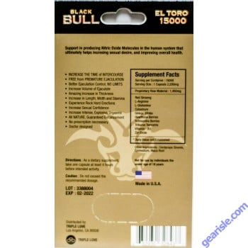 Black Bull El Toro 15000 Premier Male Enhancer Blue Pill