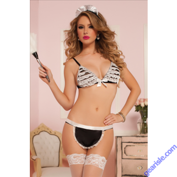French Maid Triangle Bra Set 9855P Seven' til Midnight