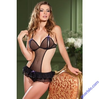 Black Mesh Sexy Crotchless Teddy For Women 1373 By Be Wicked