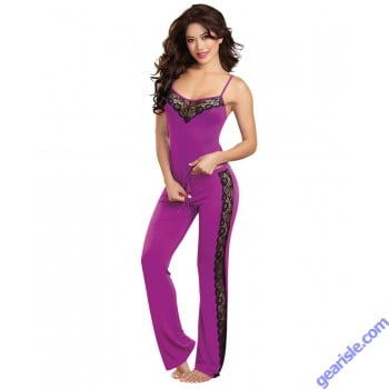 Dreamgirl 9704 Soft Stretch Sleepwear Camisole Top Pants