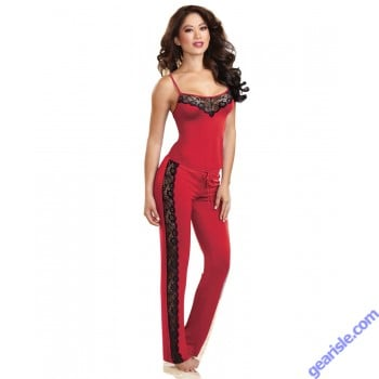 Dreamgirl 9704 Soft Stretch Sleepwear Camisole Top And Pants-Red
