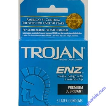 Trojan ENZ Premium Lubricated Condom Blue 3 Condoms