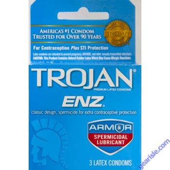 Trojan ENZ Premium Spermicidal Lubricated Condom Blue 3 Condoms