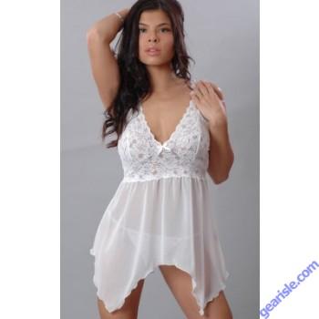 Chiffon Baby Doll With Stretch Lace Asymmetrical Hem Vx Intimate Lingerie 5213