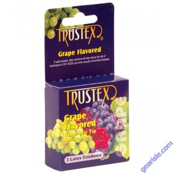 Grape Flavored 3 Lubricated Latex Condoms Trustex