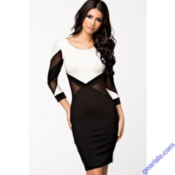 Geometric Bodycon Dress - Black and White / Low Back 9196 Lingerie