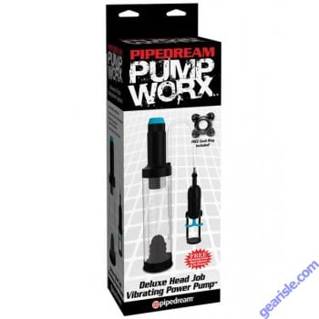 Pipedream Pump Worx Deluxe Head Job Vibrating Power Penis Pump Enlargement