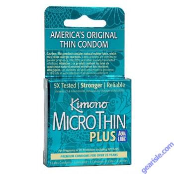 Kimono Microthin Plus Aqua Lub 3 Latex Condoms
