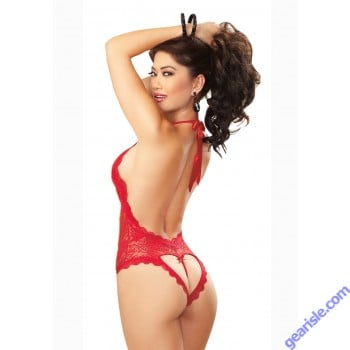 Dreamgirl 8694 Halter Stretch Lace Teddy With Plunging Neckline
