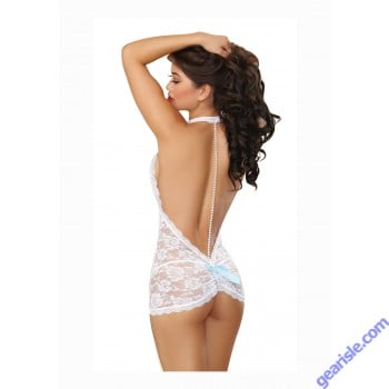 Dreamgirl 9742 White T-Back Chemise and Thong