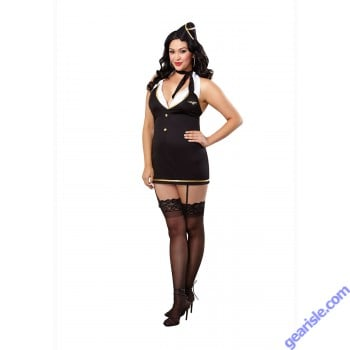 Dreamgirl 9769X Mile High Hottie Stewardess Bedroom Costume-Black-Queen Size