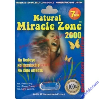 Natural Miracle Zone 2000 Blue 7 Days Supplement Sexual Enhancer Pill for Men by Joyco LA Inc