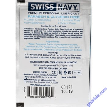 Premium Personal Lubricant 5ml Swiss Navy Single Use 5 Pack