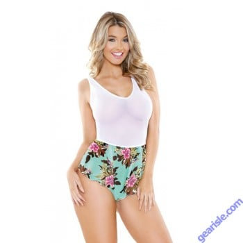 Stretch Mesh Tropical Print Romper Snap Closure Romp R515