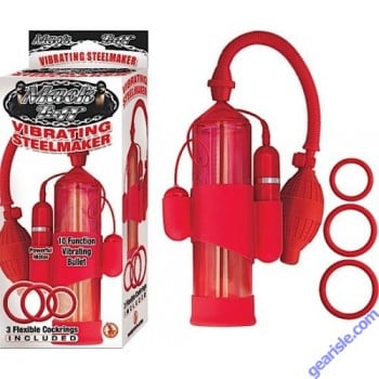 Mack Tuff Vibrating Steelmaker Penis Pump 10 Function Vibrating Bullet w/ 3 Flexible Cockrings