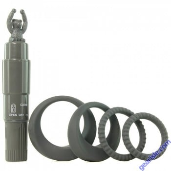 Cock Rings With Tickler Vibrator Grey