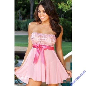 Shirley Hollywood Tie Front Stretch Lace & Mesh Babydoll 96273 O/S