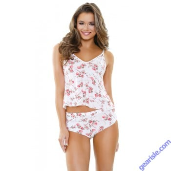 Rosalie Modal Floral Print Shoulder Tie Top Shorts Set Sleep S161