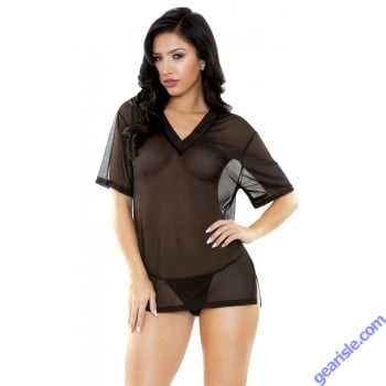 Brandy Mesh V-Neck Sleep Shirt G-string Sleep S163