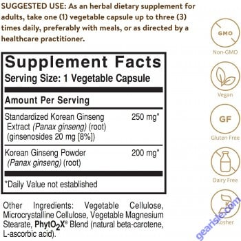 Solgar Korean Panax Ginseng Root Extract 60 Vegetable Pills Full Potency Vegan