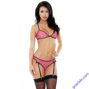 Lexi Bralette Gartered Panty Criss Cross Detail Tease B470