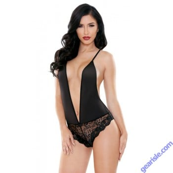 Sheila Teddy Lace Panty Plunging Neckline Tease B473