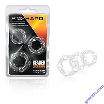 Stay Hard Beaded Cock Rings Clear Blush Novelties