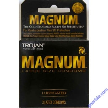 Trojan Magnum Large Size Lubricated Premium Quality Condom Black