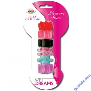 Pleasure Stars Wet Dreams Jelly Cock Rings 6 Pack
