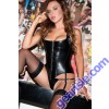 Allure Lingerie Leather Corset 11-109 Black Genuine Leather
