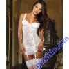 Blushing Bride Scalloped Stretch Lace Garter Slip Thong 8717 Set
